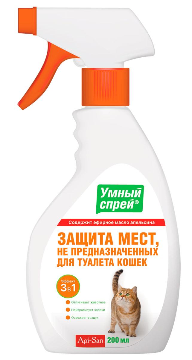 Спрей для кошек Умный спрей Защита мест не предназначенных для туалета, 200 мл лайна мс спрей для удаления меток и запахов домаш животных пихта 0 75л