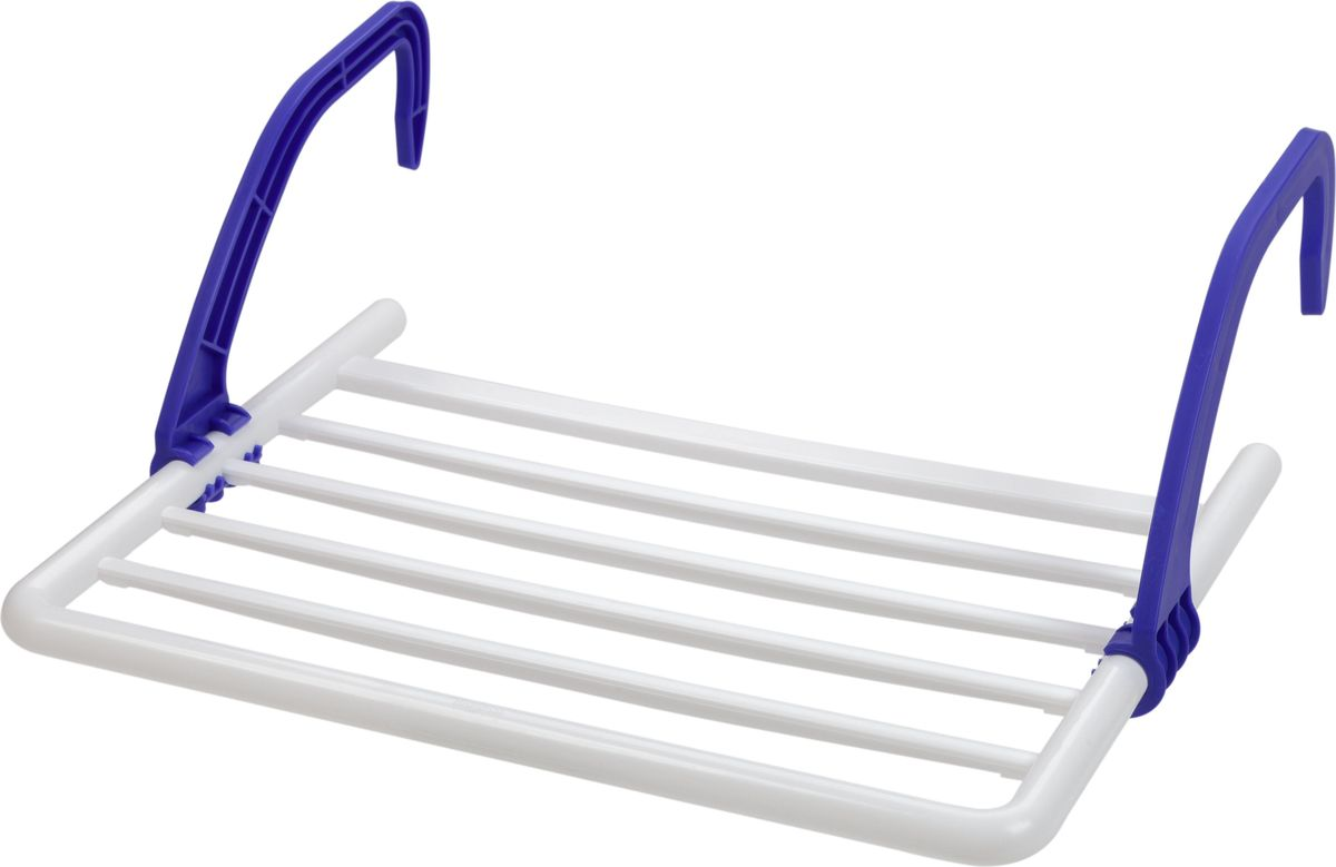 Сушилка Berossi, навесная, на батарею, цвет: синий, 52 х 39 х 18 смАС 22739000Навесная сушилка для белья Berossi подходит для всех типов масляных радиаторов и батарей центрального отопления; может крепиться также на ванны и балконы. Суммарная рабочая поверхность составляет 3 метра. Удобная конструкция со складными пластиковыми ручками выдерживает вес до 5 кг белья и занимает минимум места в сложенном состоянии. Изделие непритязательно в уходе, устойчиво к воздействию влажности и температуры