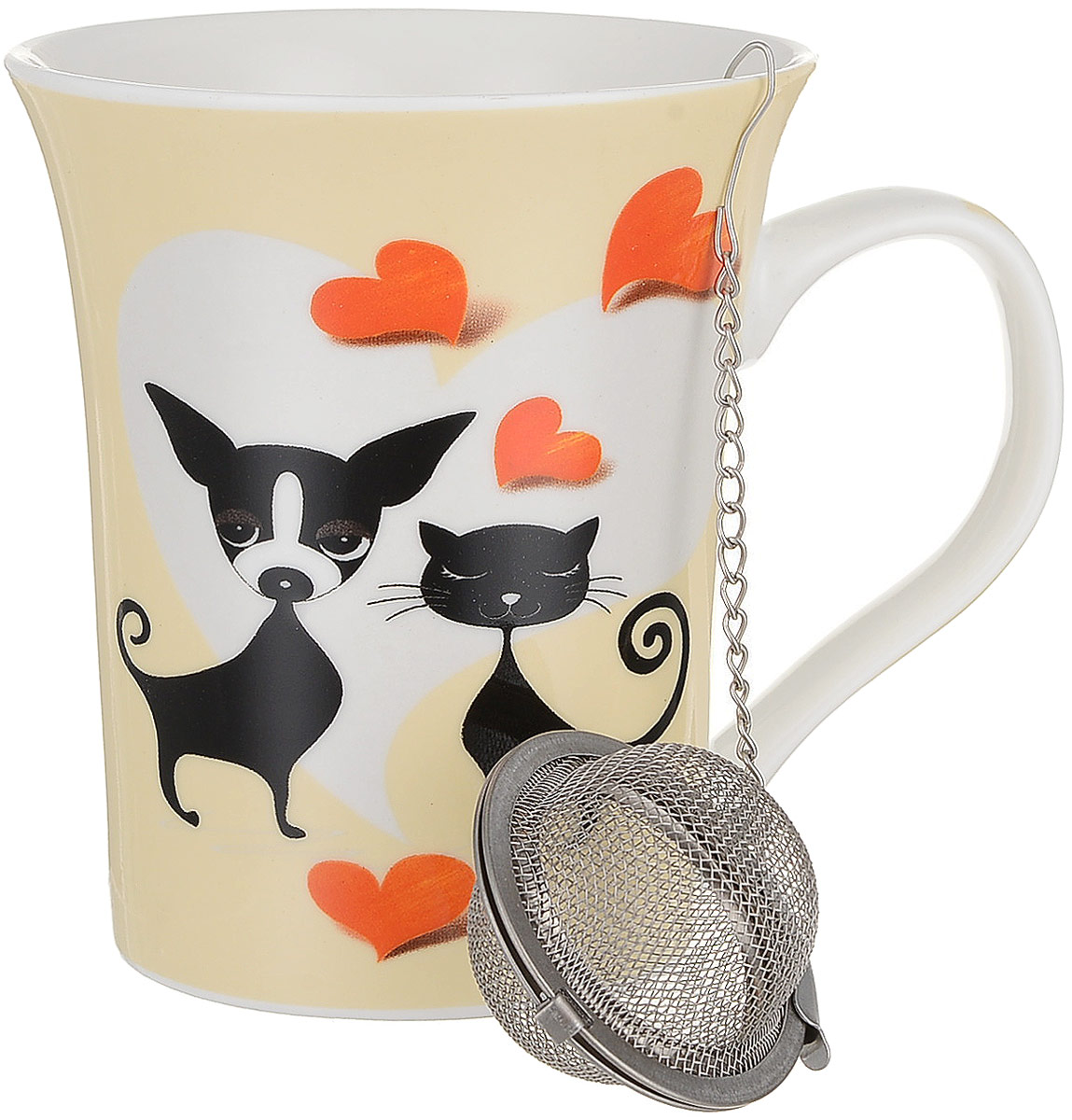 Кружка Доляна Кот и пес, с ситечком, 300 мл веселые шнурочки любимый пес