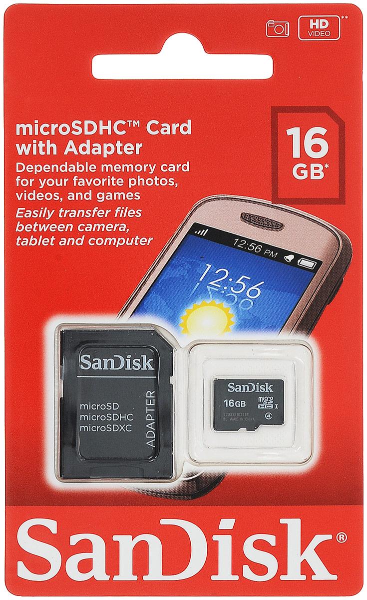 SanDisk microSDHC Class 4 16GB карта памяти с адаптеромSDSDQM-016G-B35AКарты памяти SanDisk microSDHC Class 4 обеспечивают высокую скорость (не менее 4 МБ/с, поддержка класса 4) при работе с фотографиями, видео и приложениями на мобильном телефоне или планшете.Входящий в комплект поставки адаптер SD позволяет легко переносить файлы с ПК на мобильный телефон или планшет - теперь вы можете раскрыть все функциональные возможности ваших гаджетов!