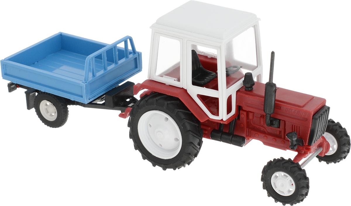 Мир отечественных моделей Трактор МТЗ-82 с прицепом трактор tomy john deere зеленый 19 см с большими колесами звук свет