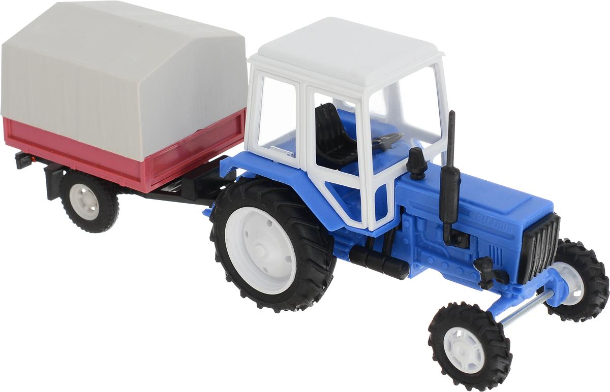 Мир отечественных моделей Трактор МТЗ-82 с тентовым прицепом трактор tomy john deere зеленый 19 см с большими колесами звук свет