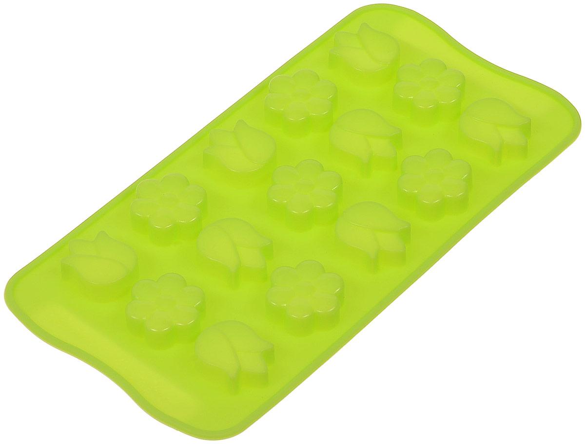Форма для льда и шоколада Доляна Цветы, цвет: салатовый, 15 ячеек, 21 х 10 х 1,5 см1540894Фигурная форма для льда и шоколада Доляна Цветы выполнена из пищевого силикона, который не впитывает запахов, отличается прочностью и долговечностью. Материал полностью безопасен для продуктов питания. Кроме того, силикон выдерживает температуру от -40°С до +250°С, что позволяет использовать форму в духовом шкафу и морозильной камере. Благодаря гибкости материала готовый продукт легко вынимается и не крошится. С помощью такой формы можно приготовить оригинальные конфеты и фигурный лед. Приготовить миниатюрные украшения гораздо проще, чем кажется. Наполните силиконовую емкость расплавленным шоколадом, мастикой или водой и поместите в морозильную камеру. Вскоре у вас будут оригинальные фигурки, которые сделают запоминающимся любой праздничный стол! В формах можно заморозить сок или приготовить мини-порции мороженого, желе, шоколада или другого десерта. Особенно эффектно выглядят льдинки с замороженными внутри ягодами или дольками фруктов. Заморозив настой из трав, можно использовать его в косметологических целях. Форма легко отмывается, в том числе в посудомоечной машине.