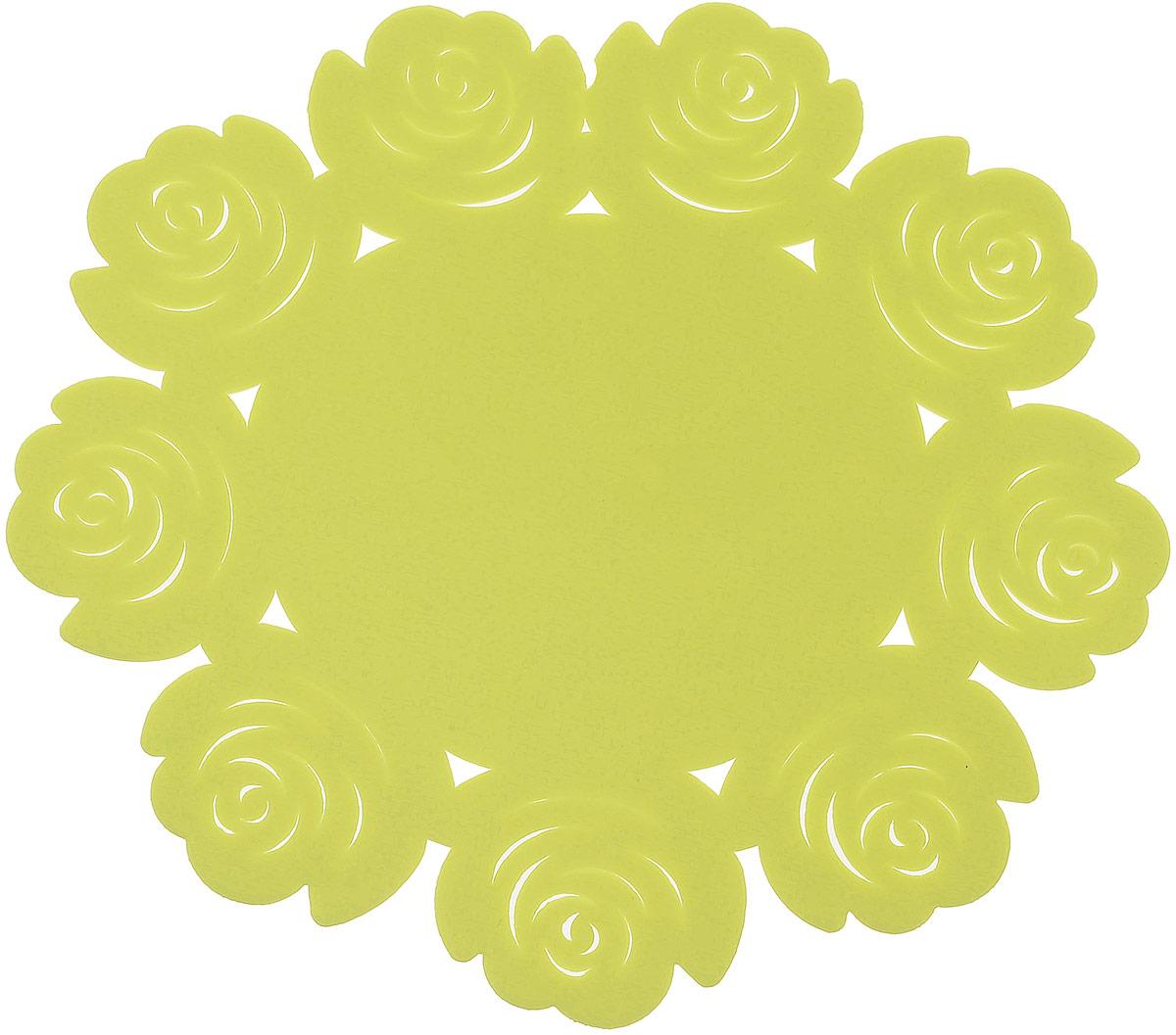 Подставка под горячее Доляна Летний домик, цвет: салатовый, 16 см812069Силиконовая подставка под горячее — практичный предмет, который обязательно пригодится в хозяйстве. Изделие поможет сберечь столы, тумбы, скатерти и клеёнки от повреждения нагретыми сковородами, кастрюлями, чайниками и тарелками.