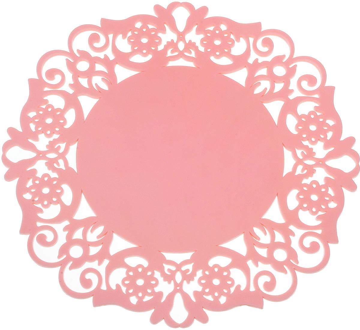Подставка под горячее Доляна Чаепитие, цвет: розовый, 20 см812071_розовыйСиликоновая подставка под горячее — практичный предмет, который обязательно пригодится в хозяйстве. Изделие поможет сберечь столы, тумбы, скатерти и клеёнки от повреждения нагретыми сковородами, кастрюлями, чайниками и тарелками.
