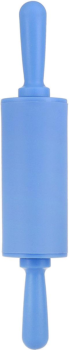 Скалка - необходимый на кухне предмет. Изделие изготовлено из пластика с силиконовым покрытием представляет собой усовершенствованную версию привычного инструмента. Яркий дизайн делает предмет украшением арсенала каждого повара.  Готовку облегчают удобные ручки.
