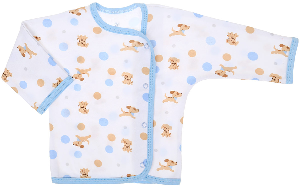 Распашонка для мальчика Чудесные одежки, цвет: белый, бежевый, голубой. 5183. Размер 625183Распашонка Чудесные одежки послужит идеальным дополнением к гардеробу вашего крохи. Модель с запахом изготовлена из натурального хлопка, благодаря чему она очень мягкая и легкая. Распашонка с круглым вырезом горловины и длинными цельнокроеными рукавами застегивается на кнопки, что помогает при переодевании малыша. Вырез горловины, планка и низ изделия обработаны бейкой из отделочного полотна. Модель полностью соответствует особенностям жизни младенца в ранний период, не стесняя и не ограничивая его в движениях.