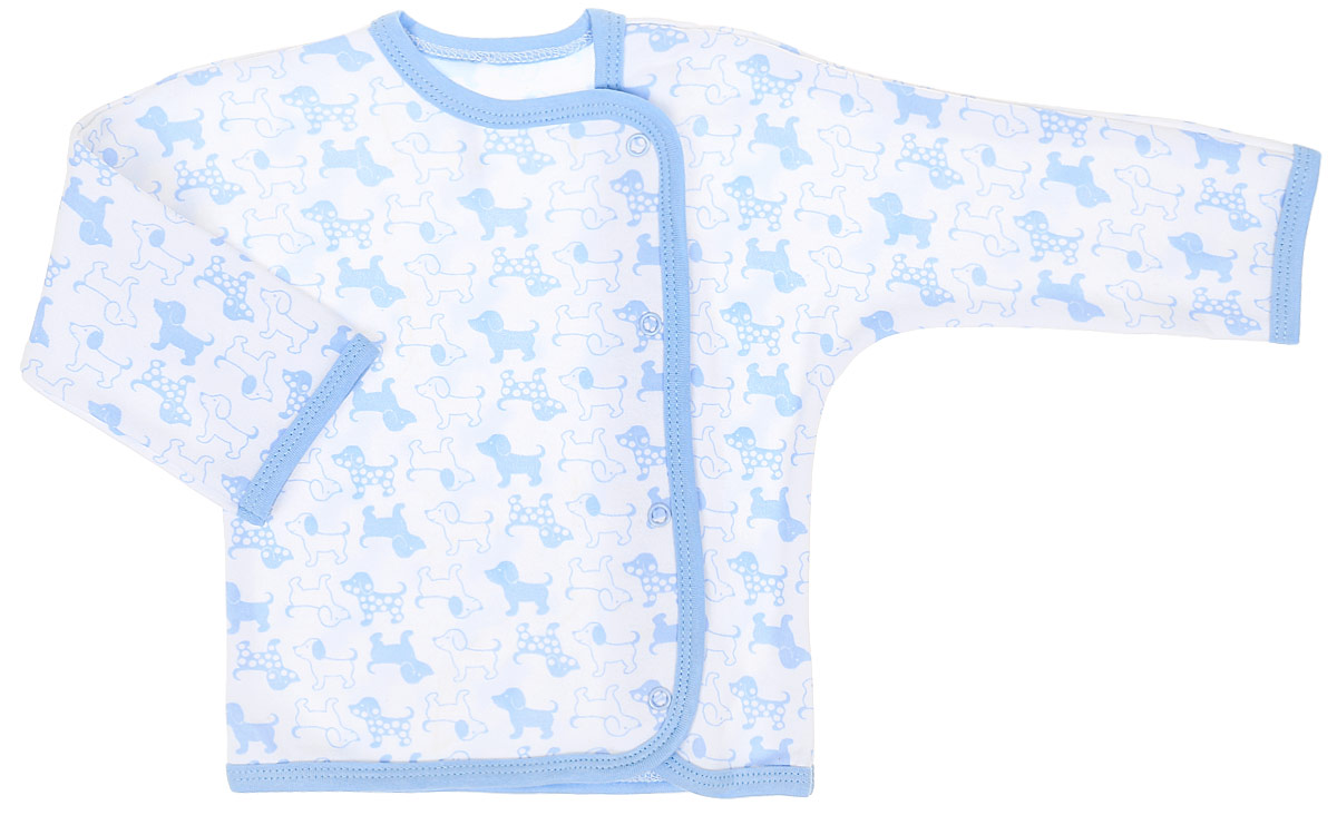 Распашонка для мальчика Чудесные одежки, цвет: белый, голубой. 5183. Размер 565183Распашонка Чудесные одежки послужит идеальным дополнением к гардеробу вашего крохи. Модель с запахом изготовлена из натурального хлопка, благодаря чему она очень мягкая и легкая. Распашонка с круглым вырезом горловины и длинными цельнокроеными рукавами застегивается на кнопки, что помогает при переодевании малыша. Вырез горловины, планка и низ изделия обработаны бейкой из отделочного полотна. Модель полностью соответствует особенностям жизни младенца в ранний период, не стесняя и не ограничивая его в движениях.