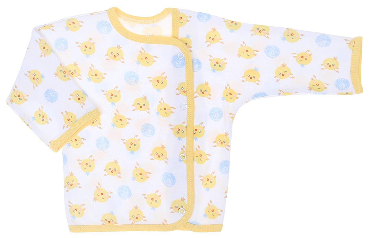Распашонка для мальчика Чудесные одежки, цвет: белый, желтый, голубой. 5183. Размер 805183Распашонка Чудесные одежки послужит идеальным дополнением к гардеробу вашего крохи. Модель с запахом изготовлена из натурального хлопка, благодаря чему она очень мягкая и легкая. Распашонка с круглым вырезом горловины и длинными цельнокроеными рукавами застегивается на кнопки, что помогает при переодевании малыша. Вырез горловины, планка и низ изделия обработаны бейкой из отделочного полотна. Модель полностью соответствует особенностям жизни младенца в ранний период, не стесняя и не ограничивая его в движениях.