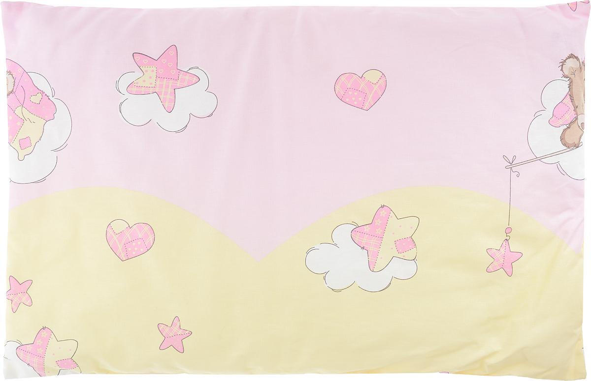 Сонный гномик Подушка детская Мишка на облаке цвет розовый желтый 60 х 40 см555С_розовый/желтый, мишка на облакеДетская подушка Сонный гномик изготовлена из бязи - 100% хлопка и создана для комфортного сна вашего малыша.Гипоаллергенные ткани - это залог спокойствия, здорового сна малыша и его безопасности. Наполнитель - синтепон (100% ПЭ) позволит коже ребенка дышать, создавая естественную вентиляцию. Мягкий и воздушный, он будет правильно поддерживать головку ребенка во время сна. Ткань наволочки - нежная и одновременно износостойкая - прослужит вам долгие годы.Уход: не гладить, только ручная стирка, нельзя отбеливать, нельзя выжимать и сушить в стиральной машине, химчистка запрещена.