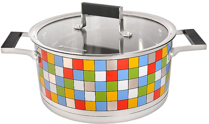 Кастрюля Polaris Mosaic с крышкой, 5 лMOSAIC 24СКастрюля Polaris Mosaic идеально подойдет для приготовления вкусной и здоровой пищи. Она изготовлена из высококачественной нетоксичной хромоникелевой нержавеющей стали 18/10. Зеркальная полировка с уникальной мозаичной деколью с внешней стороны придает посуде привлекательный вид. Специальное утолщенное тройное дно (5,6 мм) с прослойкой из алюминия (4,5 мм) обеспечивает быстрый и равномерный нагрев кастрюли. Специальная обработка стенок и дна значительно облегчает процесс чистки и мытья посуды. На внутренней стороне стенок имеются отметки литража, что является дополнительным удобством во время приготовления пищи. Кастрюля снабжена двумя удобными не нагревающимися комбинированными ручками из стали с силиконовыми вставками.К кастрюле прилагается крышка, которая позволяет готовить пищу без потери тепла, сокращает сроки приготовления продуктов, максимально сохраняет витамины, микроэлементы и питательные вещества. Она оснащена металлическим ободом и специальным отверстием для выпуска пара. Стальная ручка крышки также имеет силиконовую вставку, которая обеспечивает безопасное использование.Кастрюля Polaris Mosaic подходит для использования на всех типах плит, включая индукционные. Характеристики:Материал:нержавеющая сталь 18/10, алюминий, стекло, силикон. Объем кастрюли:5 л. Внутренний диаметр кастрюли:24 см. Внешний диаметр кастрюли:25,3 см. Высота стенок кастрюли:12 см. Толщина стенок кастрюли:0,6 мм. Размер упаковки:35,5 см х 14 см х 25 см. Производитель:США. Изготовитель:Китай. Артикул:MOSAIC 24SP. УВАЖАЕМЫЕ КЛИЕНТЫ! Обращаем ваше внимание на тот факт, что объем ковша указан максимальный, с учетом полного наполнения до кромки, шкала на внутренней стенке имеет меньший литраж.