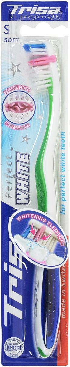 Trisa Зубная щетка Perfect White, мягкая, цвет: зеленый654370_зеленыйЗубная щетка Trisa Perfect White - мягкая щетина - способствует отбеливанию зубов за счет наличия специальных щетинок. Благодаря специальным щетинкам, щетка одновременно очищает всю поверхность зубов, даже в самых труднодоступных местах, а специальные щетинки в центре щетки являются отбеливающими элементами.