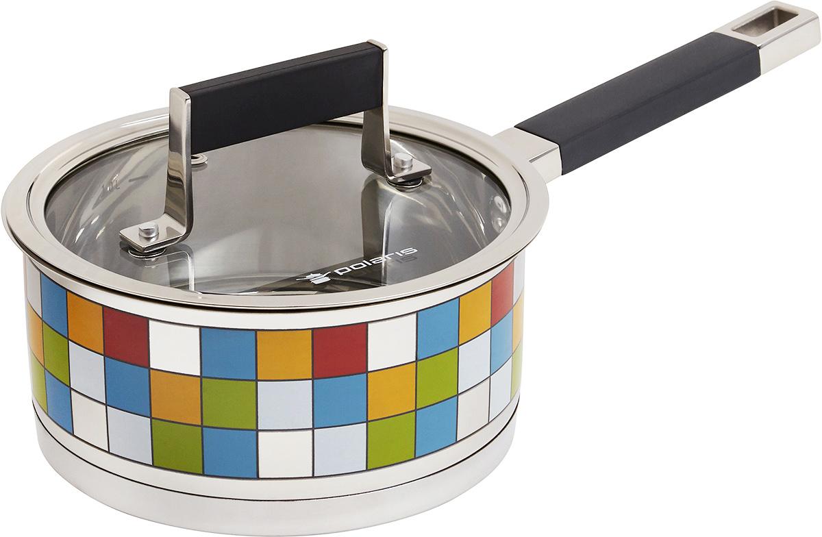 Ковш Polaris Mosaic с крышкой, 1,5 лMOSAIC 16SPКовш Polaris Mosaic идеально подойдет для приготовления вкусной и здоровой пищи. Он изготовлен из высококачественной нетоксичной хромоникелевой нержавеющей стали 18/10. Зеркальная полировка с уникальной мозаичной деколью с внешней стороны придает посуде привлекательный вид. Специальное утолщенное тройное дно (5,6 мм) с прослойкой из алюминия (4,5 мм) обеспечивает быстрый и равномерный нагрев ковша. Специальная обработка стенок и дна значительно облегчает процесс чистки и мытья посуды. На внутренней стороне стенок имеются отметки литража, что является дополнительным удобством во время приготовления пищи. Ковш снабжен не нагревающейся комбинированной ручкой из стали с силиконовой вставкой. К ковшу прилагается крышка, выполненная из металла, которая позволяет готовить пищу без потери тепла, сокращает сроки приготовления продуктов, максимально сохраняет витамины, микроэлементы и питательные вещества. Стальная ручка крышки также имеет силиконовую вставку, которая обеспечивает безопасное использование. Ковш Polaris Mosaic подходит для использования на всех типах плит, включая индукционные. Характеристики:Материал:нержавеющая сталь 18/10, алюминий, силикон. Объем ковша:1,5 л. Внутренний диаметр ковша:16 см. Внешний диаметр кастрюли:17,3 см. Высота стенок ковша:7,5 см. Толщина стенок ковша:0,6 мм. Длина ручки ковша:16 см. Размер упаковки:35 см х 10 см х 18 см. Производитель:США. Изготовитель:Китай. Артикул:MOSAIC 16SP. УВАЖАЕМЫЕ КЛИЕНТЫ!Обращаем ваше внимание на тот факт, что объем ковша указан максимальный, с учетом полного наполнения до кромки, шкала на внутренней стенке имеет меньший литраж.