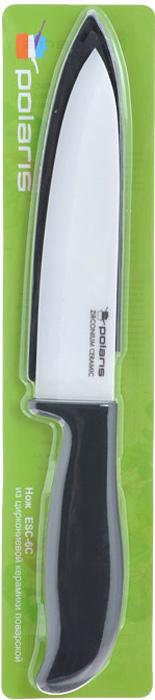 Нож поварской Polaris, керамический, с чехлом, длина лезвия 15,3 смESC-6CНож Polaris изготовлен из высококачественной циркониевой керамики - гигиеничного, экологически чистого материала. Нож имеет острое лезвие, не требующее дополнительной заточки. Эргономичная рукоятка выполнена из высококачественного пищевого пластика черного цвета с эффектом Soft-touch. Рукоятка не скользит в руках и делает резку удобной и безопасной. Такой нож предназначен для нарезки твердых и мягких продуктов: овощей, фруктов, сыра, мяса. Керамика - это отличная альтернатива металлу. В отличие от стальных ножей, керамические ножи не переносят ионы металла в пищу, не разрушаются от кислот овощей и фруктов и никогда не заржавеют. Этот нож будет служить вам многие годы при соблюдении простых правил.В комплекте пластиковый чехол для лезвия.Допускается мытье в горячей воде с моющими средствами. Ввиду хрупкости материала, используйте нож бережно. Характеристики:Материал: циркониевая керамика, пластик. Общая длина ножа: 28 см. Длина лезвия: 15,3 см. Размер упаковки: 8,5 см х 34,5 см х 2,5 см. Артикул: ESC-6C.