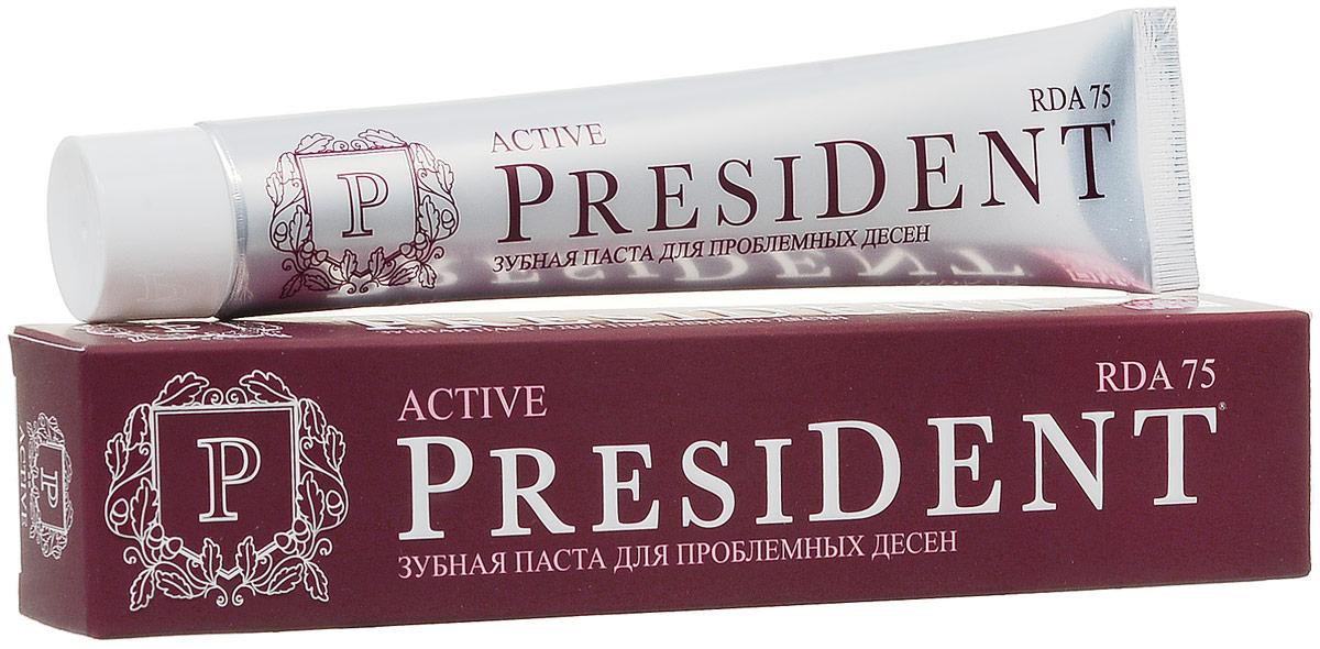President зубная паста Active, против кровоточивости десен, 75мл110177Защищает от бактерий, обладает вяжущим, противовоспалительным и антиплаковым действиями: -снимает кровоточивость, -мягко и безопасно удаляет зубной налет, -предупреждает развитие пародонтита.