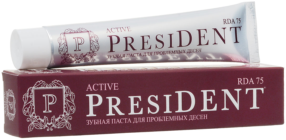 President зубная паста Active, против кровоточивости десен, 75мл пленка тонировочная president 5% 0 5м х 3м