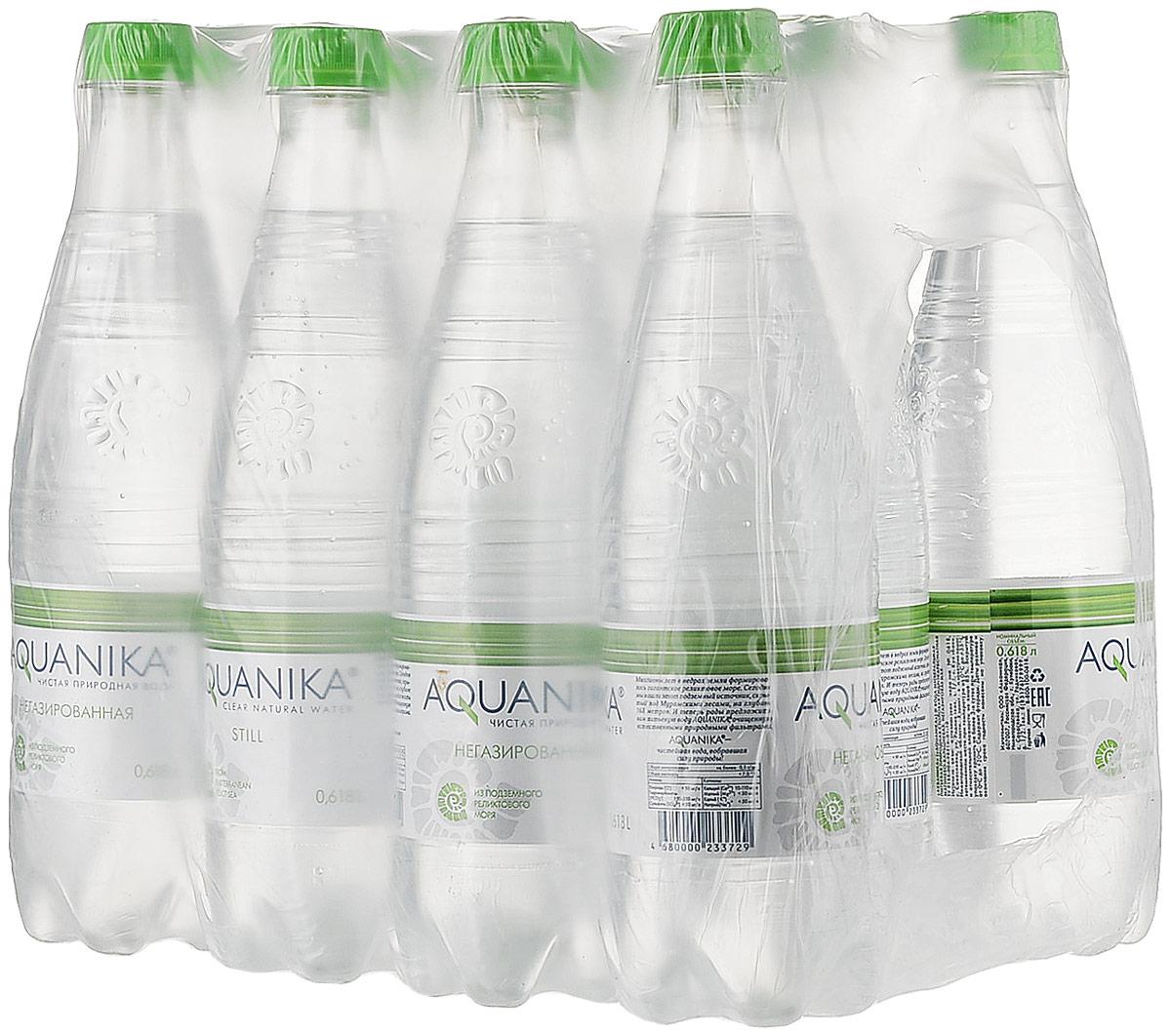 Акваника вода негазированная, 12 шт по 0,618 л.