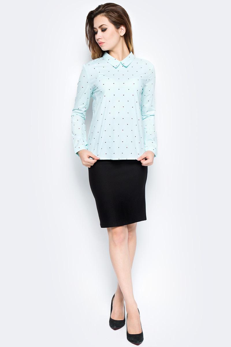 Рубашка женская Bello Belicci, цвет: бирюзовый. SA9_3. Размер M (44)SA9_3Рубашка женская Bello Belicci выполнена из качественного материала. Модель с длинными рукавами и отложным воротником.
