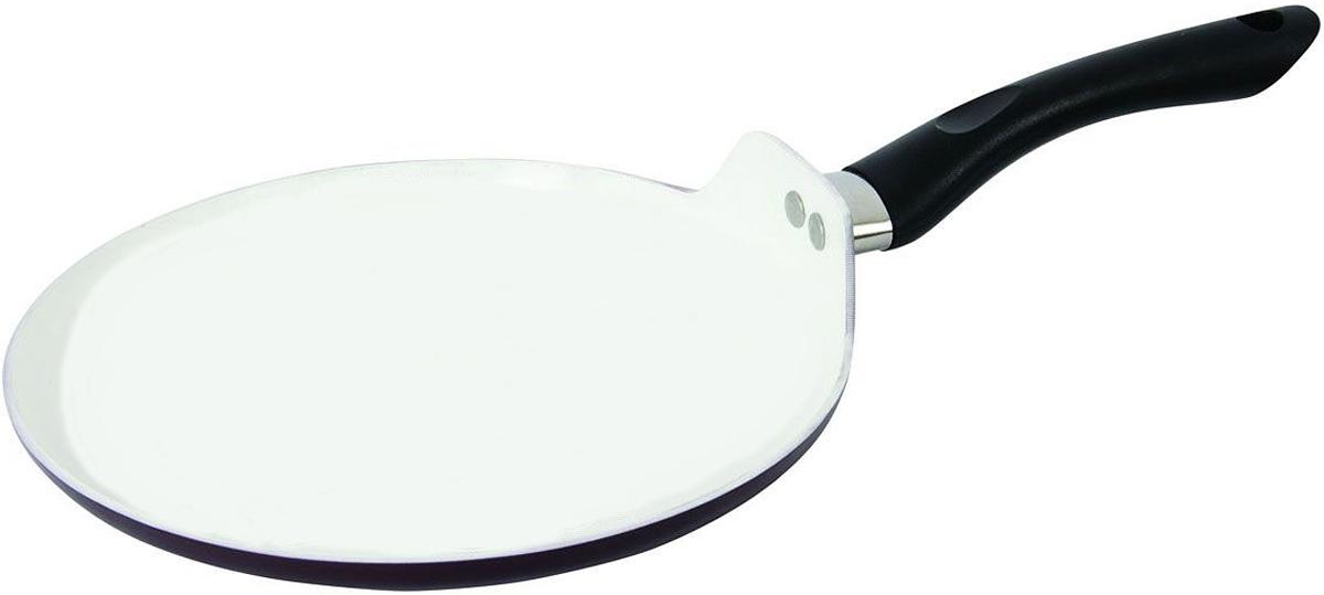 Сковорода блинная Polaris с керамическим покрытием. Диаметр 24 смSM-24PCСковорода блинная Polaris изготовлена из прессованного алюминия с внутренним антипригарным эко-керамическим покрытием белого цвета. Такое покрытие абсолютно экологично и безопасно для здоровья, так как не содержит вредных примесей PTFE и PFOA. Благодаря этому пища не пригорает и не прилипает к стенкам. Готовить можно с минимальным количеством масла и жиров. Идеально гладкое керамическое покрытие обеспечивает легкость ухода за посудой. Внешнее покрытие - вишневого цвета. Сковорода оснащена бакелитовой ручкой черного цвета, которая не нагревается в процессе готовки. Специальная плоская форма сковороды идеально подходит для приготовления блинов. Подходит для газовых, электрических, стеклокерамических, галогенных плит. Не предназначена для индукционных плит. Можно мыть в посудомоечной машине. Характеристики: Материал: алюминий, бакелит. Цвет: вишневый, белый. Диаметр: 24 см. Высота стенки: 2 см. Толщина стенки: 3,2 мм. Толщина дна: 4 мм. Длина ручки: 20 см. Диаметр дна: 20 см. Артикул: SM-24PC.