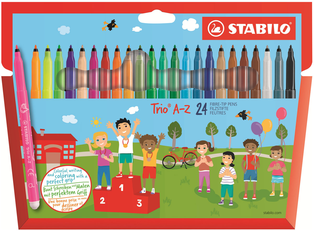 Stabilo Набор фломастеров Trio A-Z 24 цвета378/1-24-01В наборе Stabilo Trio A-Z 24 цветных фломастера. • Трехгранная зона обхвата для безопасного и эргономичного держания в детских ручках. • Неломающийся прочный наконечник. • Рука не устает при письме и рисовании. • Толщина линии 0,7 мм.