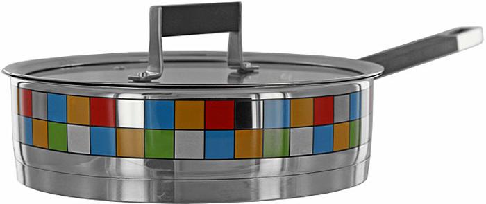 Сотейник с крышкой Polaris Mosaic Line. Диаметр 24 смMOSAIC 24SPФункциональный сотейник Polaris Mosaic Line с крышкой идеально подходит для приготовления соте или поджаривания. Высокие стенки позволяют легко перевернуть и быстро перемешать ингредиенты. Оснащен вентилируемой термостойкой стеклянной крышкой с металлическим ободом. Тройное вштампованное, а затем вплавленное термоаккумулирующее дно толщиной 5,6 мм с прослойкой из алюминия (4,5 мм) обеспечивает быстрый и равномерный нагрев посуды, отметки литража на внутренних стенках посуды, удобная литая ручка с силиконовой вставкой - все это поможет вам готовить вкусную и здоровую пищу. Сотейник с зеркальной полировкой декорирован уникальной мозаичной деколью - украсит вашу кухню своим оригинальным дизайном. Сотейник подходит для газовых, электрических, стеклокерамических и индукционных плит. Характеристики:Материал: нержавеющая сталь 18/10, силикон. Объем: 2,5 л. Внутренний диаметр сотейника:24 см. Толщина стенок сотейника:0,6 мм. Толщина дна сотейника:5,6 мм Высота стенок сотейника:7,5 см. Длина ручки:19 см. Размер упаковки:42,5 см х 26 см х 9,5 см. Изготовитель:Китай. Артикул:24 SP.