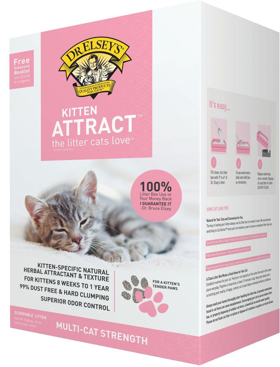 Наполнитель Dr.Elsey's Kitten Attract, для котят, комкующийся, 9,08 кг минеральный комкующийся наполнитель pi pi bent полиэтиленовый пакет для котят 5кг