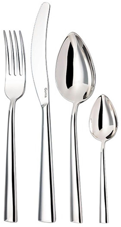 Набор столовых приборов Gottis Leeds, 24 предмета01/2401/24 коллекция Leeds (6персон/24предмета). Дизайн приборов, полностью отвечающий европейским тенденциям, позволяет подобрать коллекцию под любой интерьер. Выполнены из высококачественной европейской нержавеющей стали 18/10. Ручная полировка всех граней прибора, в том числе и между зубцами вилки, придает зеркальный блеск и эстетичный внешний вид. Немецкая технология горячей закалки и заточки лезвия ножей.