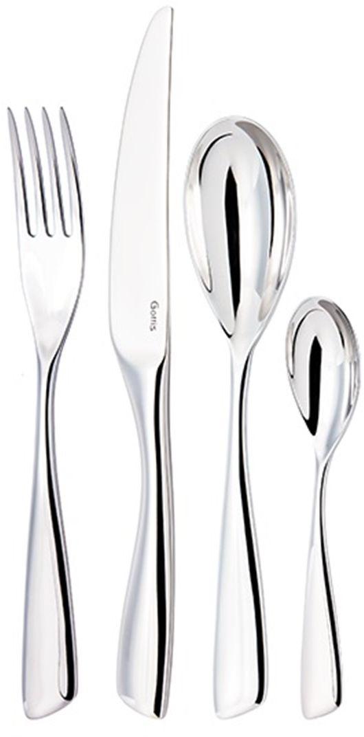 Набор столовых приборов Gottis Bergamo, 24 предмета02/2402/24 коллекция Bergamo (6персон/24предмета). Дизайн приборов, полностью отвечающий европейским тенденциям, позволяет подобрать коллекцию под любой интерьер. Выполнены из высококачественной европейской нержавеющей стали 18/10. Ручная полировка всех граней прибора, в том числе и между зубцами вилки, придает зеркальный блеск и эстетичный внешний вид. Немецкая технология горячей закалки и заточки лезвия ножей.