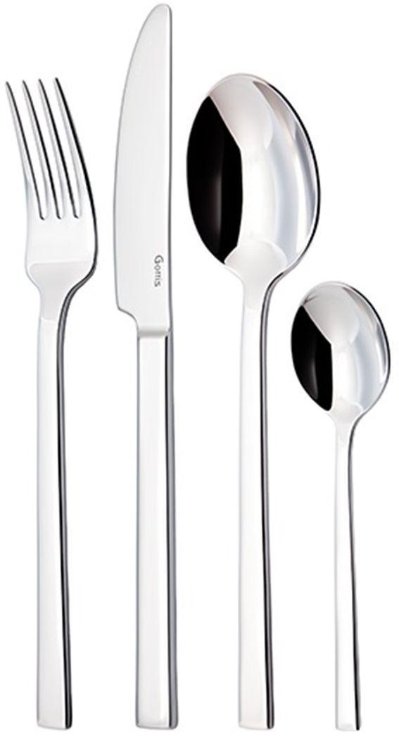 Набор столовых приборов Gottis Conte, 24 предмета03/2403/24 коллекция Conte (6персон/24предмета). Дизайн приборов, полностью отвечающий европейским тенденциям, позволяет подобрать коллекцию под любой интерьер. Выполнены из высококачественной европейской нержавеющей стали 18/10. Ручная полировка всех граней прибора, в том числе и между зубцами вилки, придает зеркальный блеск и эстетичный внешний вид. Немецкая технология горячей закалки и заточки лезвия ножей.
