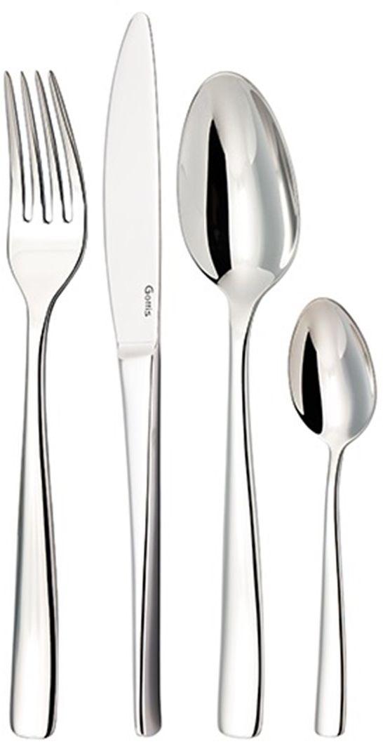 Набор столовых приборов Gottis Wiki, 24 предмета04/2404/24 коллекция Wiki (6персон/24предмета). Дизайн приборов, полностью отвечающий европейским тенденциям, позволяет подобрать коллекцию под любой интерьер. Выполнены из высококачественной европейской нержавеющей стали 18/10. Ручная полировка всех граней прибора, в том числе и между зубцами вилки, придает зеркальный блеск и эстетичный внешний вид. Немецкая технология горячей закалки и заточки лезвия ножей.