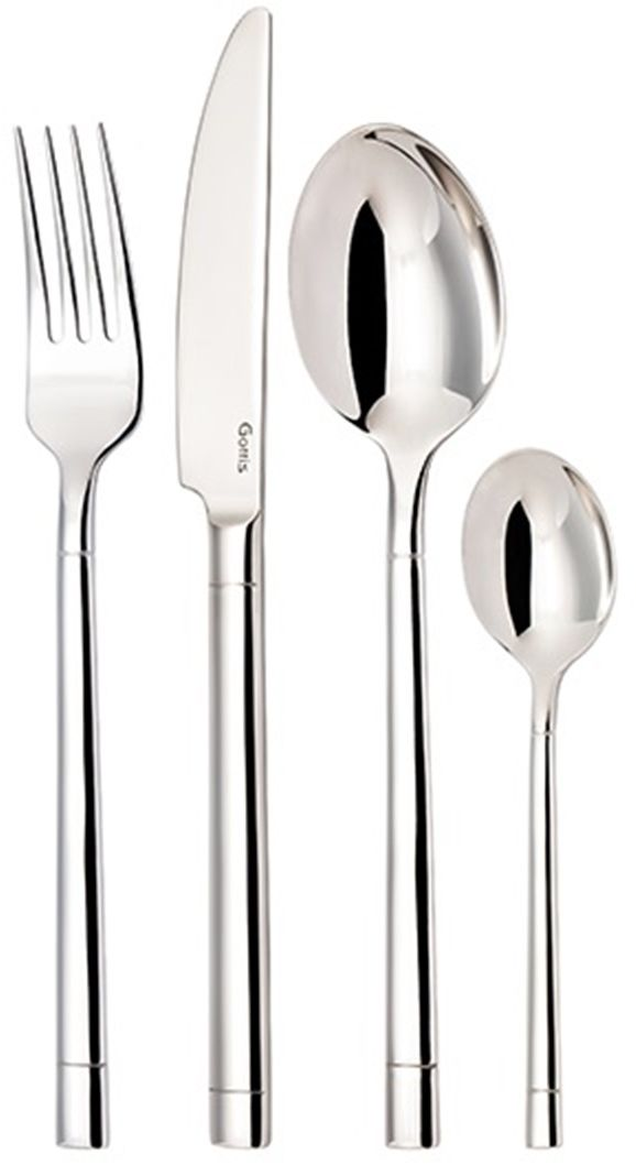 Набор столовых приборов Gottis Tony, 4 предмета206/4Набор столовых приборов Gottis Tony состоит из 4 предметов на 1 персону: вилки, ножа и 2 ложек. Приборы изготовлены из высококачественной европейской нержавеющей стали 18/10. Ручная полировка всех граней прибора, в том числе и между зубцами вилки, придает зеркальный блеск и эстетичный внешний вид. Немецкая технология горячей закалки и заточки лезвия ножей. Набор столовых приборов подойдет для сервировки стола как дома, так и в ресторане, и всегда будет важной частью трапезы, а также станет замечательным подарком.