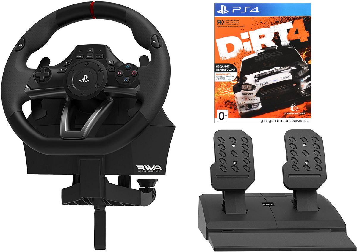 Hori Racing Wheel APEX (PS4-052E) руль для PlayStation 4 + игра Dirt 4ACPS477Руль Hori Racing Wheel APEX официально лицензирован Sony. Контроллер совместим с PlayStation 4 и PlayStation 3.Данная модель имеет мощную вибрацию для обратной связи, подрульные лепестки переключения передач, программируемые кнопки, и эргономичное резиновое покрытие.ПодсветкаУгол поворота: 180/270 градусовВ комплекте аналоговые педали для реалистичного вожденияВ комплект также входит игра Dirt 4