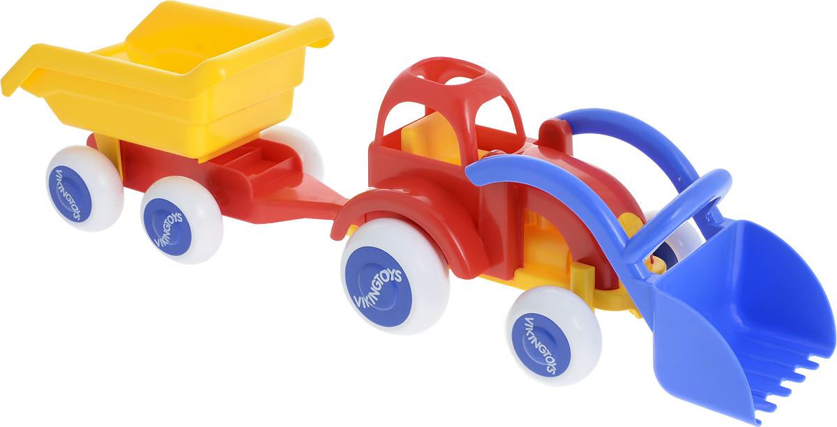 Viking Toys Трактор-экскаватор с прицепом Джамбо цвет красный желтый viking toys пожарная машина джамбо 28 см