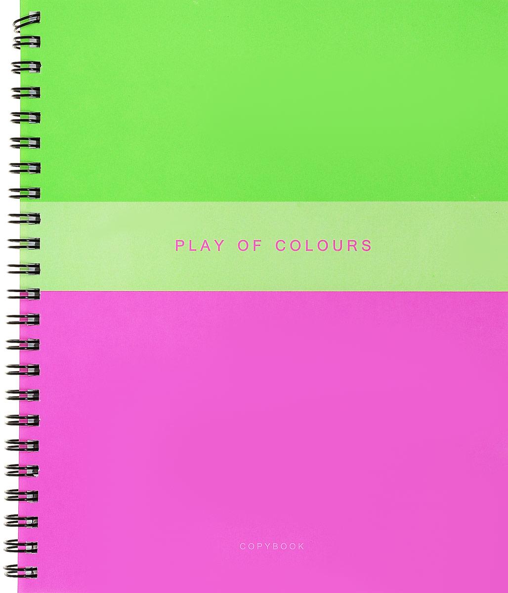 Канц-Эксмо Тетрадь Игра цвета 96 листов в клетку цвет розовый салатовыйТСЛ965233_бирюзовыйТетрадь общая Канц-Эксмо Игра цвета формат А5, 96 листов в клетку. Крепление - гребень. Обложка: мелованный картон, пантонная печать, выборочный лак. Внутренний блок: бумага офсетная 60 г/м2.