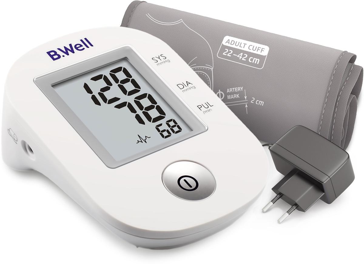 B.Well Swiss Тонометр PRO-33, автомат, 1 кнопка, манжета M-L, адаптерPRO-33 adАвтоматический тонометр PRO-33 позволит регулярно осуществлять контроль уровня артериального давления, поможет в профилактике гипертонии и займет достойное место в каждой домашней аптечке. Тонометр PRO-33 имеет классический алгоритм измерения при выпуске воздуха из манжеты Intellect Classic. Индикатор аритмии выявит аритмию при нарушении сердечного ритма во время измерения.В комплектацию PRO-33 входит конусная манжета по форме руки, что гарантирует комфортное и точное измерение. Плотное прилегание манжеты к руке помогает достичь более точного результата во время измерения. • Intellect Classic – классический алгоритм измерения при выпуске воздуха из манжеты. Комфортное измерение, точный результат. • Индикатор аритмии – раннее выявление нарушений сердечного ритма. • Универсальная конусная манжета размера М-L для обхвата руки 22-42 см. • Простое управление одной кнопкой. • Память на последнее измерение. • Адаптер в комплекте.