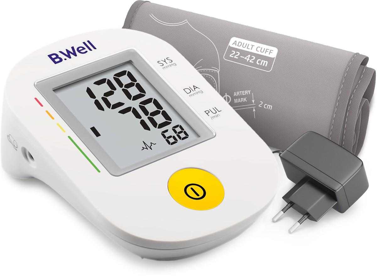 B.Well Swiss Тонометр PRO-36, автомат, говорящий, шкала давления, манжета M-L, адаптерPRO-36Говорящий автоматический тонометр PRO-36 точно измерит артериальное давление, оценит его по шкале ВОЗ и озвучит всю информацию с помощью речевого выхода.Тонометр PRO-36 имеет классический алгоритм измерения при выпуске воздуха из манжеты Intellect Classic. Индикатор аритмии выявит аритмию при нарушении сердечного ритма во время измерения.В комплектацию PRO-36 входит универсальная конусная манжета по форме руки, что гарантирует комфортное и точное измерение. Плотное прилегание манжеты к руке помогает достичь более точного результата во время измерения.• Тонометр озвучивает результаты измерения.• Удобная регулировка уровня громкости.• Intellect Classic – классический алгоритм измерения при выпуске воздуха из манжеты. Комфортное измерение, точный результат.• Индикатор аритмии – раннее выявление нарушений сердечного ритма.• Универсальная конусная манжета размера М-Lдля обхвата руки 22-42 см.• Цветная шкала сигнализирует об уровне давления.• Простое управление одной кнопкой.• Сетевой адаптер в комплекте