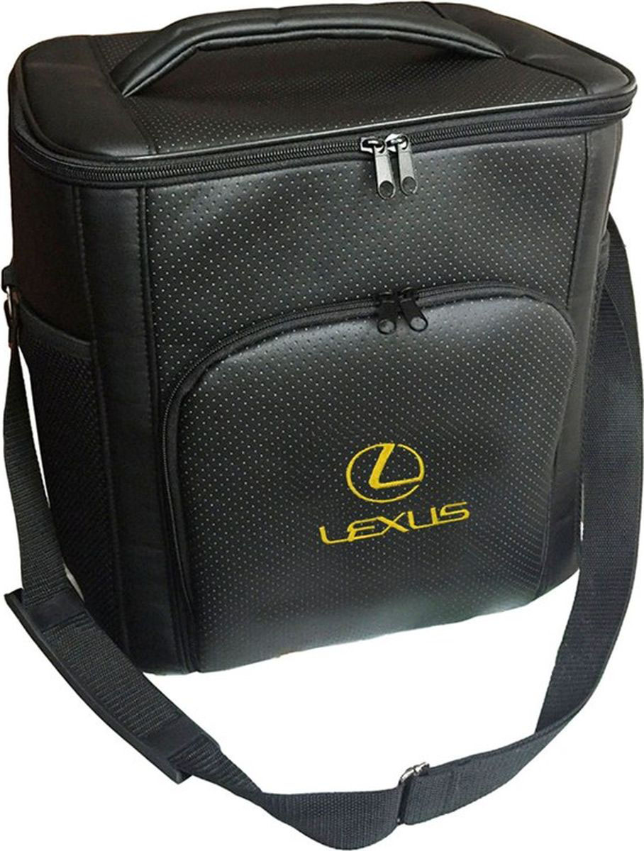 Термосумка Auto Premium Lexus, 20 л. 7212772127Термосумка выполнена из экокожи с вышивкой LEXUS и оснащена регулируемым плечевым ремнем. Основное отделение и передний карман закрываются на молнию. Для дополнительного удобства термосумка имее два боковых сетчатых кармана. Ваши продукты сохранятся свежими, а напитки холодными даже в жару благодаря специальному внутренному термоизоляцоному материалу АЛЮФОМ (РФ).. Для более длительного подержания температурного режима рекомендуется использовать с аккумуляторами холода. Объем термосумки 20 л.