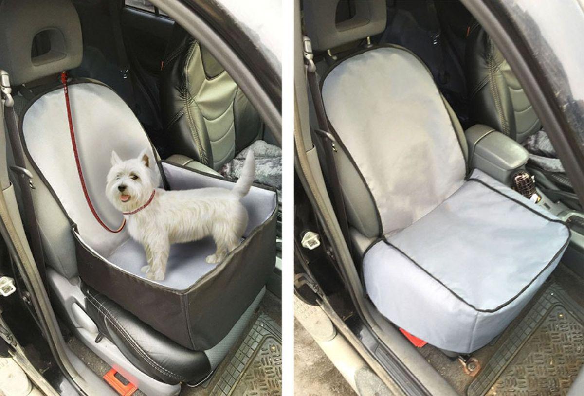 Автогамак на переднее сидение для перевозки собак Auto Premium. 7704877048Гамак для перевозки животных на переднем сидении. Идеально подойдет для небольших собак. Гамак сшит из водонипроницаемой ткани, для усиления используется вспененный пенополиэтилен . Благодаря 5-ти точкам крепления гамак надежно закреплен на сидении. При необходимости гамак легко трансформируется в защитный чехол для сидения. В комплект входит чехол на подголовник.