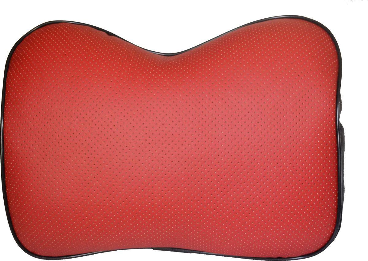 Подушка под спину увеличенная Auto Premium, цвет: красный. 7716477164Подушка под спину выполнена из экокожи, для набивки используется пружинящее волокно.Такая подушка великолепно поддерживает поясницу во время длительных поездок, не давая ей проваливаться и прогибаться. Уровень мягкости можно регулировать благодаря специальной молнии - набивку можно убрать или добавить. Подушка легко фиксируется на сидении благодаря фастексу, длинна ремней регулируется специальными пряжками.