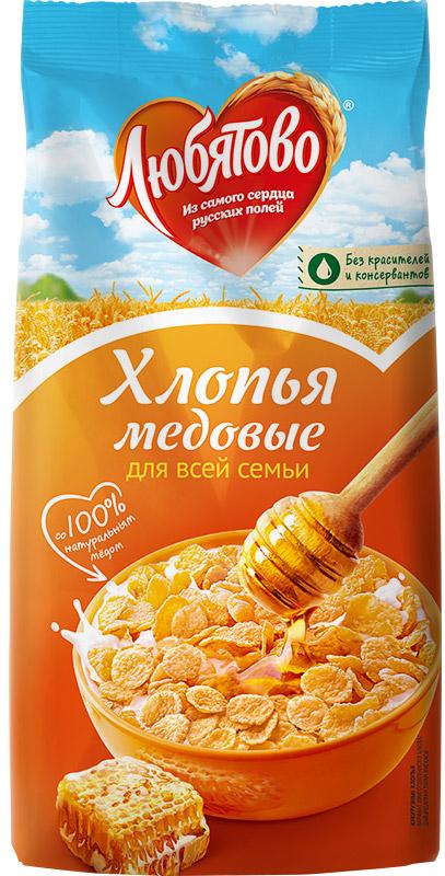Любятово хлопья кукурузные медовые, 250 г