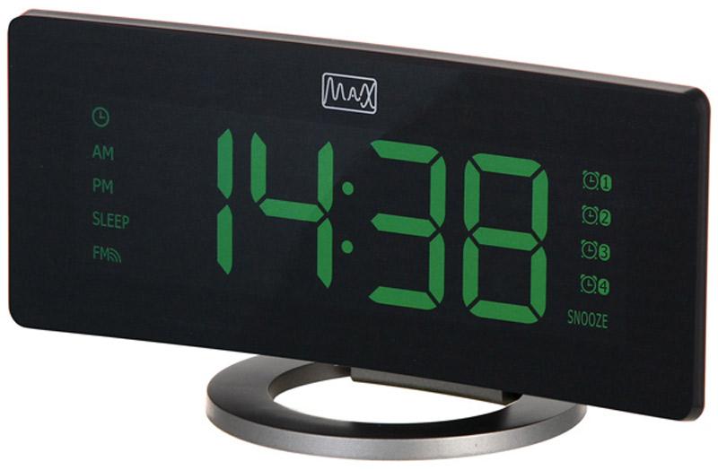 MAX CR-2914, Black Gray радиобудильник30057Радио-будильник MAX CR-2914 выполнен в оригинальном форм-факторе. Он займет достойное место на столе жилой комнаты или офиса.Данная модель имеет цифровой LED дисплей с большими цифрами зелёного цвета. Время на таком дисплее можно рассмотреть издалека, а яркость дисплея можно регулировать в соответствии с предпочтениями владельца.Производителем предусмотрены 4 будильника, которые можно установить на разное время. Имеется функция повтор и цифровая регулировка громкости. В качестве сигнала можно использовать как зуммер, так и радио.Встроенное FM-радио обеспечит возможность слушать любимые радиостанции, быть в курсе последних событий, не скучать. В память устройства можно внести до 20 радиостанций.