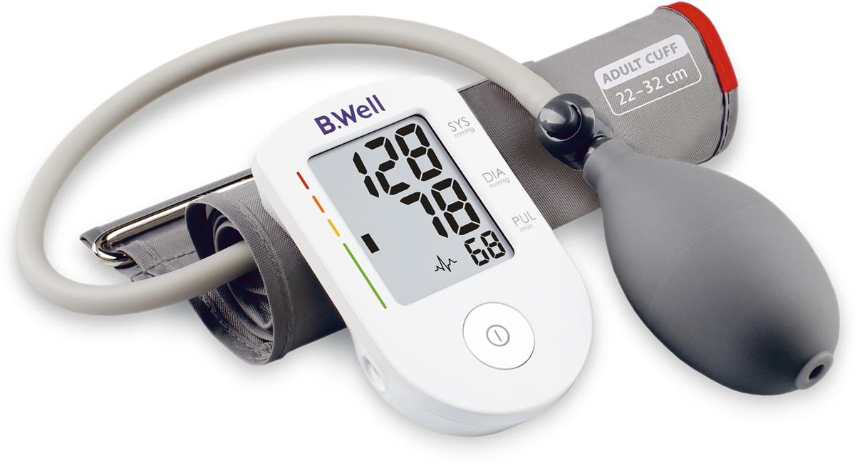 B.Well Тонометр PRO-30, полуавтомат, шкала давления, 1 кнопка, манжета MPRO-30Полуавтоматический тонометр PRO-30 это простой и компактный прибор с удобным нагнетателем. Точно измерит артериальное давление и оценит его по шкале ВОЗ.В комплектацию PRO-30 входит конусная манжета по форме руки, что гарантирует комфортное и точное измерение. Плотное прилегание манжеты к руке помогает достичь более точного результата во время измерения.