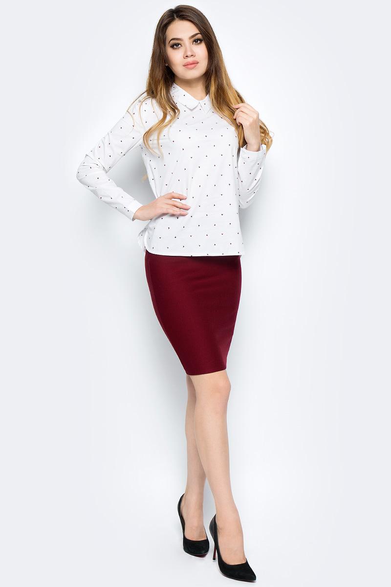Рубашка женская Bello Belicci, цвет: белый. SA9_12. Размер L (46)SA9_12Рубашка женская Bello Belicci выполнена из качественного материала. Модель с длинными рукавами и отложным воротником.