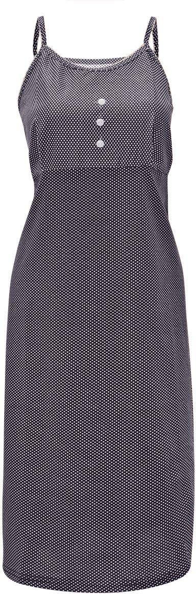 Ночная рубашка женская Коллекция, цвет: темно-синий. ОСРН-13. Размер 50ОСРН-13Ночная рубашка на тонких бретелях, полуприталенного силуэта изготовлена из хлопковой ткани. Изделие дополнено принтом в горошек и декоративными пуговицами на груди. Безусловным достоинством является мягкое полотно из чистого хлопка - залог крепкого и спокойного сна!