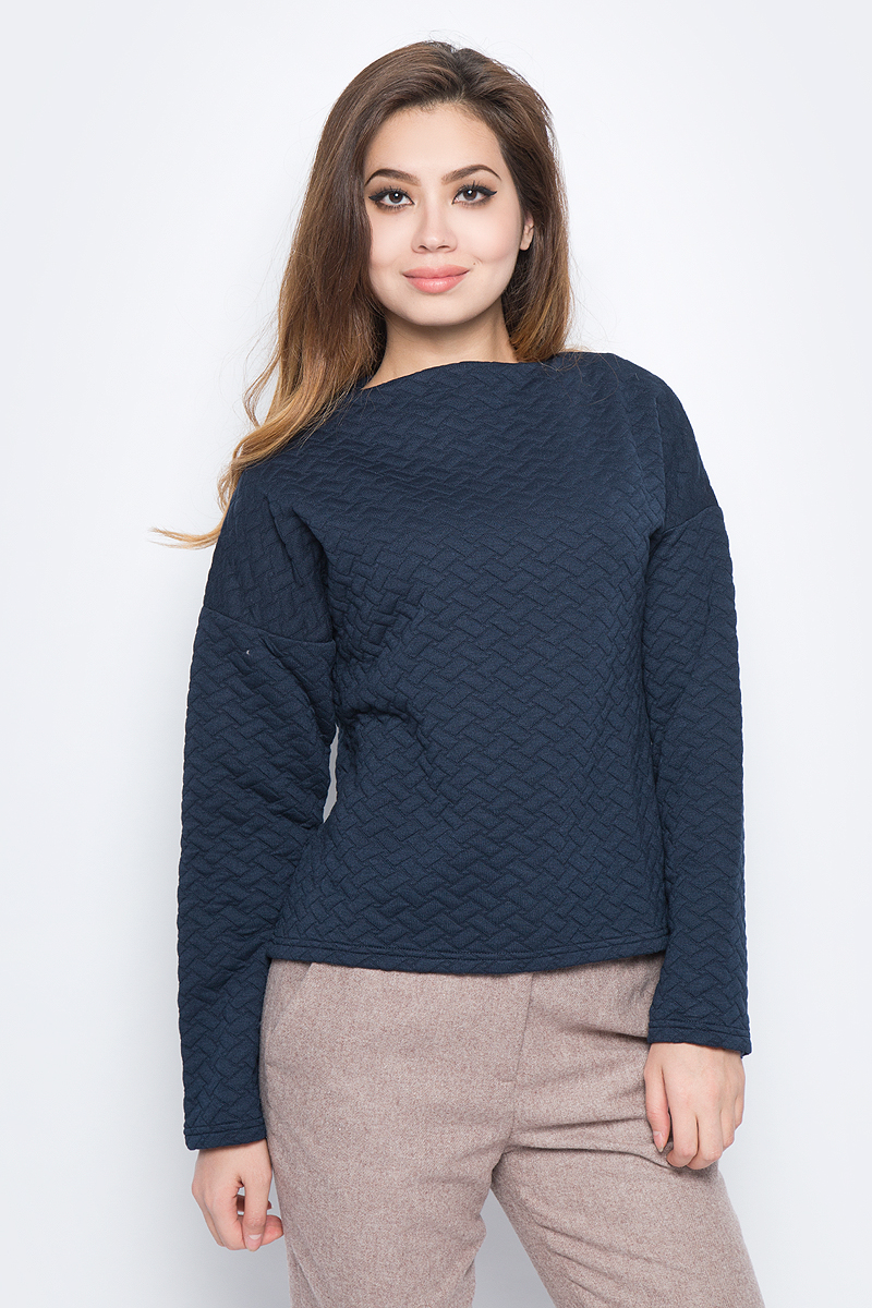 Купить Свитшот женский Baon, цвет: синий. B117504_Dark Navy. Размер L (48)