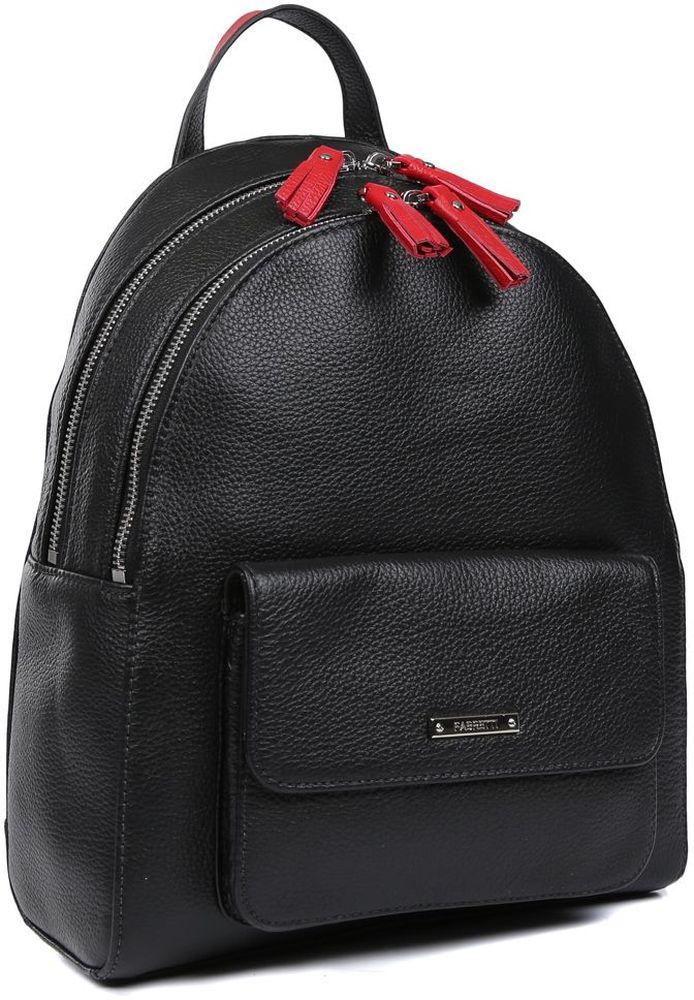 Молодежный женский рюкзак от итальянского бренда Fabretti выполнен из натуральной пористой кожи, которая имеет мягкую и приятную на ощупь фактуру. Классический черный цвет дополнит любую цветовую гамму, поэтому модель станет универсальным аксессуаром, подходящим под различные современные образы. Простой лаконичный дизайн, ярко-красные кожаные поводки и фурнитура в серебряном цвете, - все это превращает изделие в ультрамодный рюкзак, который подчеркнет ваш уникальный стиль. Модель имеет два отделения, которые закрываются на молнии. Внутри вы сможете расположить свой сотовый телефон и различные мелкие вещи с помощью карманов. На лицевой и тыльной части рюкзака имеются два отделения, чтобы важные вещи всегда были под рукой. Компактный рюкзак имеет прочные лямки регулируемой длины и ручку для переноски в руке.