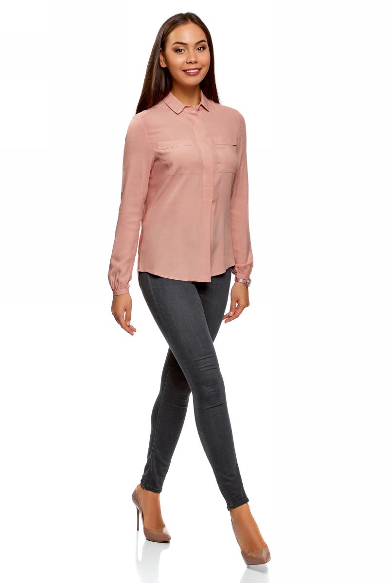 Блузка женская oodji Collection, цвет: розовый. 21411126/26346/4A01N. Размер 44-170 (50-170) блузка женская oodji collection цвет серый черный розовый 21404007 15018 2341e размер 44 170 50 170