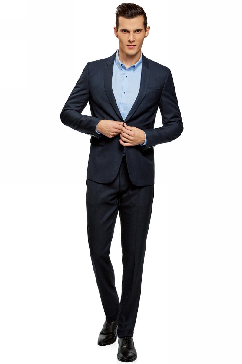 Брюки мужские oodji Lab, цвет: темно-синий. 2L200179M/47312N/7900O. Размер 48-182 (56-182) пиджак мужской oodji lab цвет темно синий 2l410201m 47076n 7900o размер 48 182
