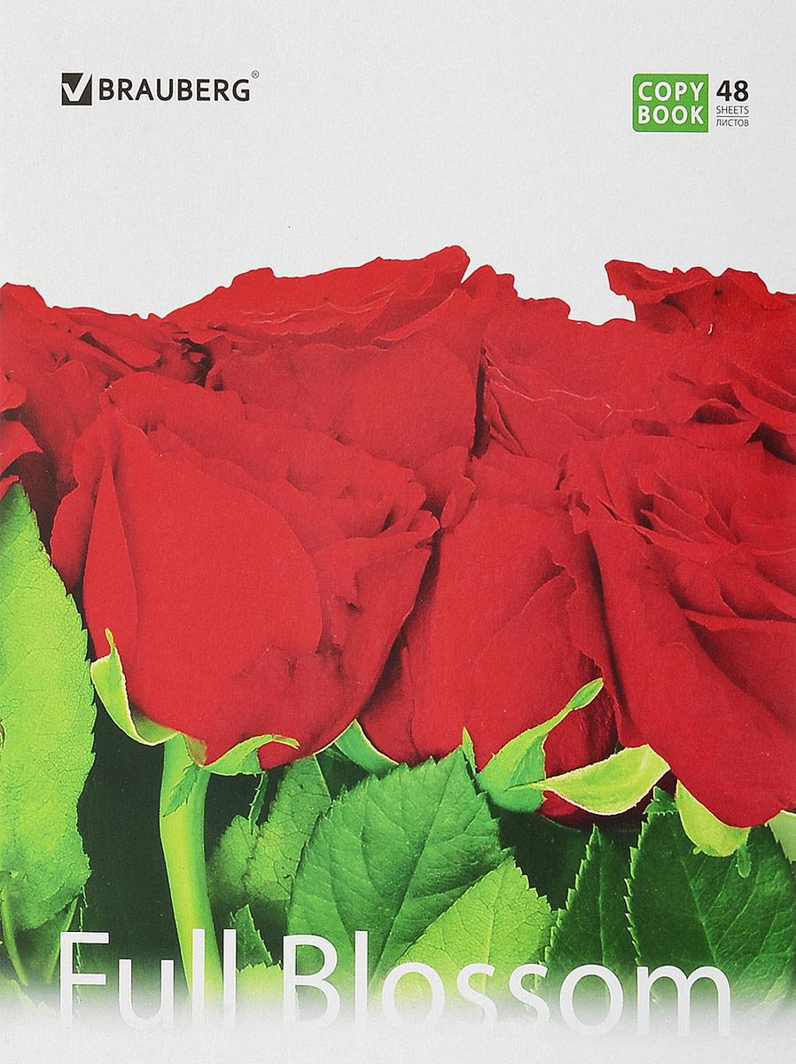 Brauberg Тетрадь Full Blossom Розы 48 листов в клетку401808_розыПрактичная тетрадь Full Blossom Розы для учебы и работы.— Формат А5 (165х205 мм).— 48 листов.— Обложка - импортный мелованный картон.— Внутренний блок - офсет 60 г/м2, клетка с полями.— Крепление - скрепка.