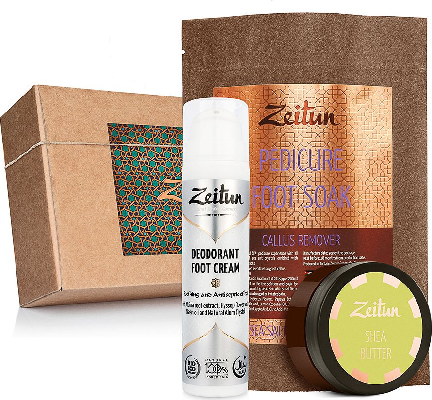Зейтун Подарочный набор SPA-педикюр соль против натоптышей, баттер, крем-дезодорант для ног, 400 мл8809435402975Набор Zeitun SPA-педикюр - это полноценный комплекс натуральных и эффективных средств для ухода за кожей ног, которые позволяют проводить базовые SPA-процедуры в собственной ванной. Набор включает в себя Солевую ванну-пилинг Zeitun Против натоптышей, Крем-дезодорант Zeitun с антисептическим эффектом и ухаживающее Твердое масло Zeitun Ши. Каждое средство создано на основе органических компонентов высшего качества. Уход можно разделить на три этапа: 1) размягчение и удаление огрубевшей кожи с энзимным солевым пилингом на основе ферментов папайи; 2) глубокое интенсивное питание обновленной кожи со 100% чистым твердым маслом ши; 3) защита от неприятного запаха и потоотделения с кремом-дезодорантом на основе нима, калгана и иссопа. Красивое крафтовое оформление с древесной стружкой внутри коробки делает набор идеальным подарком, который подойдет как женщине, так и мужчине, а также в качестве презента для всей семьи.Как ухаживать за ногтями: советы эксперта. Статья OZON Гид